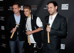 Software architect and creator of Twitter, Jack Dorsey, singer Justin Bieber and Scooter Braun attend the Tribeca Disruptive Innovation Awards during the 2012 Tribeca Film Festival at the NYU Paulson Auditorium