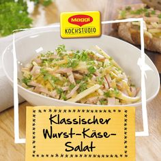 Klassischer Wurst-Käse-Salat Classic sausage cheese salad is the perfect companion for a snack or supper. Quick prepared and just delicious. Chili Recipes, Salad Recipes, Keto Recipes, Dinner Recipes, Big Mc, Fingers Food, Best Pasta Salad, Cheese Salad, Healthy Salads