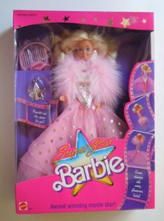 1988 Super Star SuperStar Barbie Movie Star 1604 - Star Earrings, Gown and Bracelet - New in box NIB eBay - Silver Star Award Trophy - Award winning movie star, gown changes into many glamorous looks, Bracelet and Charm for you