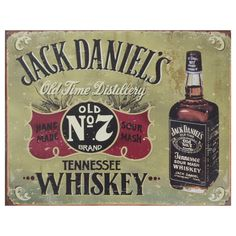 This vintage metal art 'Jack Daniels' decorative tin sign measures 16 inches x 12.5 inches and is made with premium USA craftsmanship using heavy gauge American steel. This nostalgic tin sign comes with pre-punched holes, so it's ready to hang!