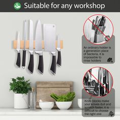 NATURAL WOOD KNIFE MAGNETIC STRIP 12 inch is made of quality ashtree. The best magnetic strip for knives kitchen. High quality kitchen knife holder, knife rack magnetic. Strong magnetic knife strips. ECO knife wall magnet rack.