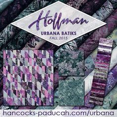 Hoffman Bali Hand Dyes Urbana hand dyed bali batiks are here! Rich shades of purple complement icy grey and stony green. Exotic flowers along with organic textures. Hancocks Of Paducah, Gorgeous Fabrics, Stony, Exotic Flowers, Shades Of Purple, Dyes, Innovation Design, Color Combos, Bali