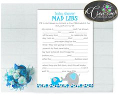 Aqua Blue Gray Elephant MAD LIBS baby shower boy game with elephant theme printable, digital files Jpg Pdf, instant download - ebl01 #babyshowerparty #babyshowerinvites