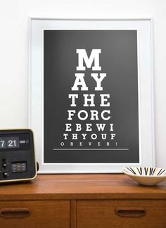 Star Wars print typography art poster Eye Chart - May the force be with You or 14 or 8 x 10 - choose your color Star Wars Party, Star Wars Desenho, Star Wars Zimmer, Star Wars Room, Star Wars Prints, Eye Chart, Kunst Poster, The Force Is Strong, Modern Artwork
