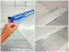 16 Genius Wax Paper Tips and Tricks - One Crazy House - Add wax paper to your refrigerator shelves to make clean up a breeze. The wax paper won't stick to the glass, so it's easy to remove. Deep Cleaning, Spring Cleaning, Cleaning Hacks, Kitchen Cleaning, Fridge Organization, Organization Hacks, Organizing Ideas, Storage Hacks, Kitchen Organisation