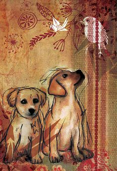 Two Puppies- Mixed Media