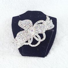 Swarovski AB Crystal Floral Design Hair Barrette