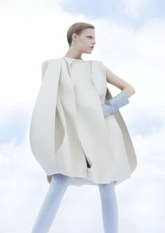 Wearable Art - experimental fashion construction detail with overlapping panels - shape and structure; sculptural fashion // Mila Schon