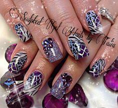 Purple zebra leopard print nail art