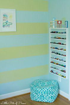 "Matchbox car ""parking garage."" I love this idea for a playroom!"
