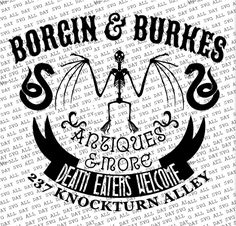 Just down on Knockturn Ally you will find a special little shop known as Borgin and Burkes! SVG and JPG Format Harry Potter Bedroom, Harry Potter Decor, Free Dobby, Ministry Of Magic, Cricut Creations, Vinyl Crafts, Book Nooks, Cricut Design, Design Inspiration