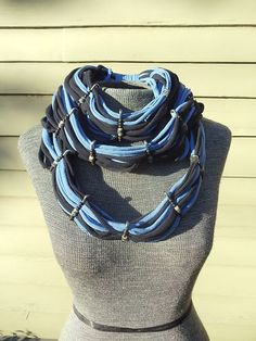 Upcycled T-Shirt Jersey Infinity Scarf Necklace Cyberpunk Steampunk DIY OOAK 12