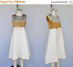 SALE 60s Raw SILK Dress  Empire Waist Dress  TENT by ItaLaVintage
