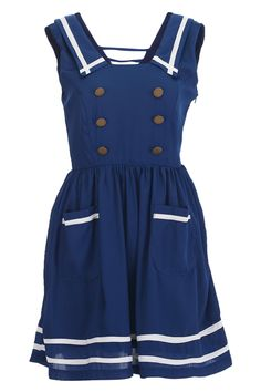 Navy Stripes Buttoned Dress