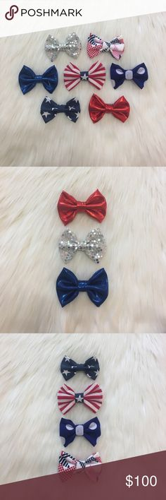 🇺🇸Festive 4th of July Clip In Bows! 🇺🇸Festive 4th of July Clip In Bows!                               🇺🇸Alligator clips attached!                                                 🇺🇸4 for $8, 6 for $10, 8 for $12, 10 for $14,etc.! Available 2in, 3in, or 4in, length can be adjusted upon request!                                                                           🇺🇸Monthly Bundle Deal: 10% off when you bundle 3+ headbands…