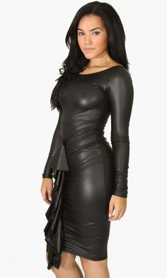 Black Long Sleeve Zip Bodycon Party Dress CA$29.02