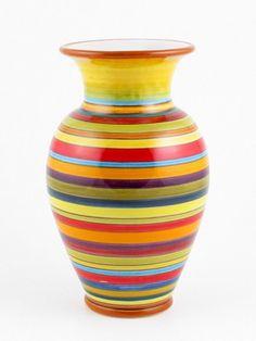 Hand Painted Italian Ceramic Millerighe Vase - Handmade in Deruta Mexican Kitchen Decor, Talavera Pottery, Italian Pottery, Vases Decor, Decorating Vases, Ceramic Painting, Hanging Art, Handmade Pottery, Decoration