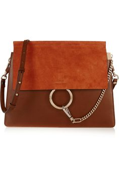 Chloé | Faye medium suede and leather shoulder bag | NET-A-PORTER.COM