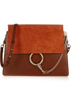 Chloé | Faye medium suede and leather shoulder bag | NET-A-PORTER.COM