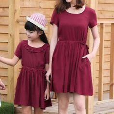 Simple Short Sleeve Mom and Me Dress