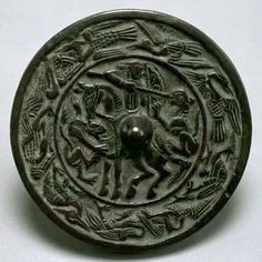 12th century Seljuk Mirror with horse-backed hunter Louvre, OA 6020