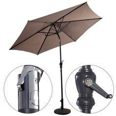 Costway 9ft Patio Umbrella Patio Market Steel Tilt w/ Crank Outdoor Yard Garden (Tan) (Polyester)