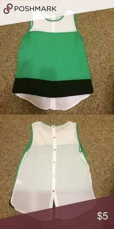 Green, black and white color block tank, Sz M Green, black and white color block tank. Size medium. Great for work wear in the summer!! Sweet Rain Tops Tank Tops