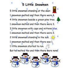 poem five little snowmen more poster size five little snowmen poem ...
