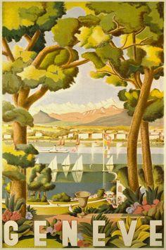 Fustier Geo, 1937, vintage Switzerland travel advertising poster