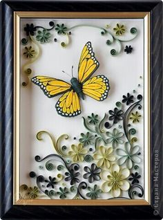 Paper quilling butterfly frame