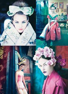 caroline trentini, catherine mcneil, christian dior, fashion, flowers, gemma ward, haute couture, model, oriental, orientalism, pirelli, pirelli calendar, vintage