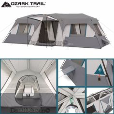 Ozark Trail 15 Person 3 Room Tent Instant Large 25x10 Cabin C&ing Split Plan  sc 1 st  Pinterest : tent fridge - memphite.com
