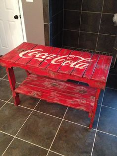 Distressed Coca-Cola table  made of reclaimed vintage pallets . $499.00, via Etsy. Like our Facebook page! https://www.facebook.com/pages/Rustic-Farmhouse-Decor/636679889706127