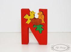 Puzzle en bois, lettre N, nid d'oiseaux, nature, forêt