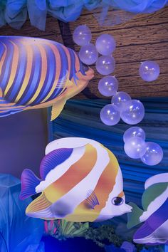Fish decorations with transparent balloons for bubbles -- decorating ideas for Ocean Commotion VBS