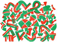 SIGNS  A linocut by  Bernard Lodge