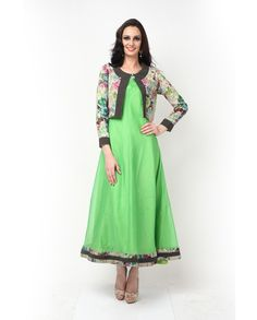 Green chanderi jacket dress   1. Light green Chanderi dress with floral printed jacket having light quilting on the front packet and neckline . 2. Can be stitched upto size 42 inches