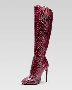 Gucci Tall-Shaft Stiletto Boot, Wine - Neiman Marcus