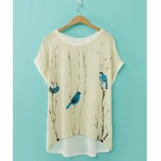 Elegant Scoop Neck Printed Loose-Fitting Short Sleeve Chiffon T-Shirt For Women