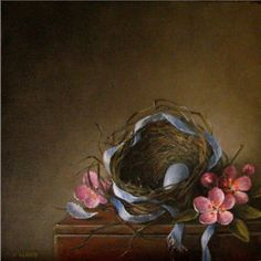 The Lost Ribbon Robin's Nest with blue egg, pink apple blossoms, blue satin ribbon, Jeanne Illenye Little Gems Still Life Oil Painting, Realism -- JEANNE ILLENYE