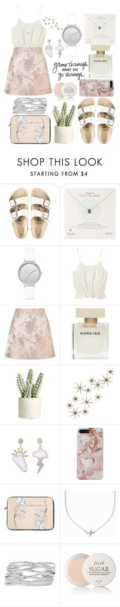 """cutie pink"" by anncorpse ❤ liked on Polyvore featuring Birkenstock, Dogeared, Skagen, Miss Selfridge, Narciso Rodriguez, Allstate Floral, Alo Yoga, Global Views, Minnie Grace and M&Co"