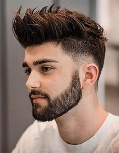 Beard Styles 670966044467796771 - It's easy to understand why short haircuts for men are arguably the most sought-after in the industry. Let's be honest – they look remarkable and they complement masculine features well! Source by menhairstylesworld Mens Hairstyles With Beard, Cool Hairstyles For Men, Hairstyles Haircuts, Haircuts For Men, Elegant Hairstyles, Formal Hairstyles, Hairstyle Ideas, Mens Hairstyles Medium Undercut, Short Hair And Beard