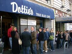 Dotties True Blue Cafe, SF. The original location, I believe, in the Tenderloin district.  In walking distance of where we stayed at the Pan Pacific Hotel.  They've since moved.  I haven't been since they've moved.  Hope it's still the same!