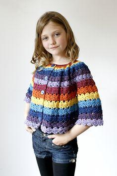 download a FREE pattern every day. ~ Girls' Yo-yo Motif Jacket ||  Crochet Stash .Tumblr .Com
