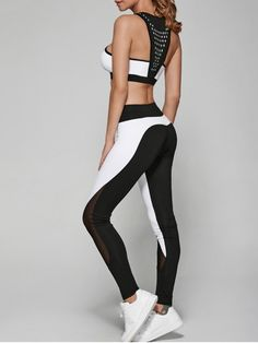Geometric Print Bra and Mesh Leggings - WHITE AND BLACK S Mobile