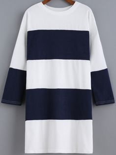 Navy Round Neck Striped Loose Dress