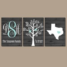 Wedding Gifts Diy ★State Family Tree Monogram Wood Effect Wall Art Initials Wedding Shower Gift Last Name Date Tree Birds Custom Personalized Set of 3 Prints - Family Tree Wall, Tree Wall Art, Family Trees, Tree Art, Dates Tree, Wedding Initials, Wood Crafts, Diy Crafts, Diy Canvas