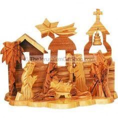 Olive wood Nativity scene with Bethlehem Church Ornament.