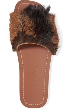 Prada - Goat Hair-trimmed Leather Slides - Brown - IT39.5