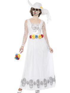 Day of the Dead-morsian. Day of the Dead-morsiamen naamiaisasu on valkoinen mekko, kuten monet muutkin morsiuspuvut. Outfits Fiesta, Komplette Outfits, Dresses Uk, Prom Dresses, Summer Dresses, Bride Costume, Ladies Fancy Dress, Halloween Fancy Dress, Costume Halloween